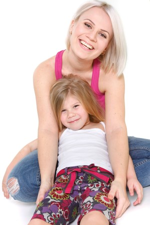happy mother and daughter over white Stock Photo - 7770698