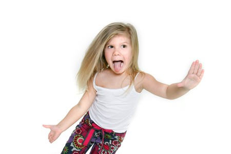 little girl making funny faces over white photo