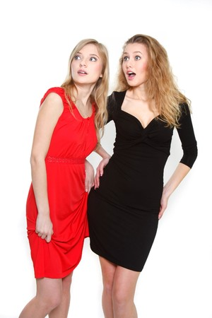 two surprised girls over white Stock Photo - 7770220