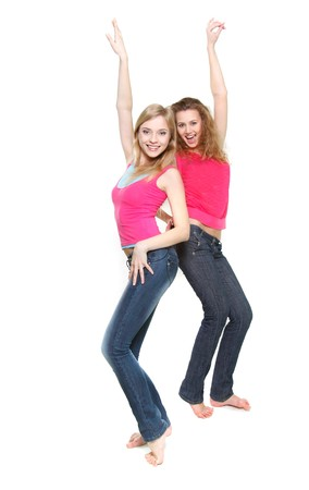 two happy dancing girls over white Stock Photo - 7770269