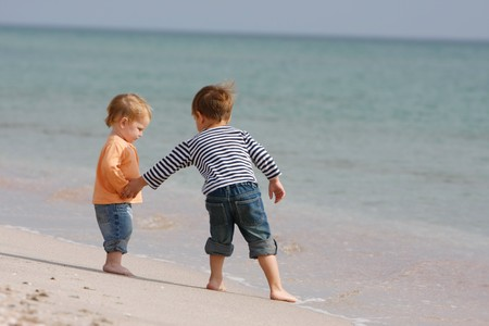 two kids on beach Stock Photo - 7772035
