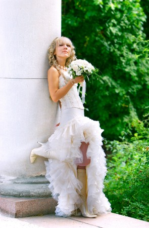 honey blonde: young attractive bride on her wedding day Stock Photo
