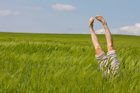 female legs raised up from green grass Stock Photo - 7772094