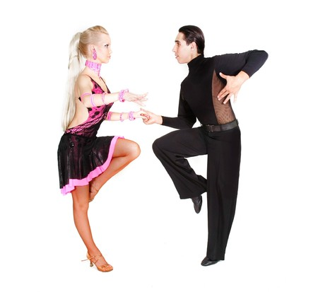 Young couple dancing Latino over white