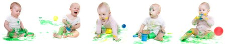 several babies painting over white Stock Photo