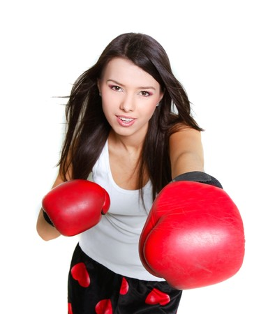short gloves: young female boxer over white Stock Photo