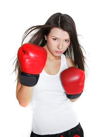 young female boxer over white Stock Photo