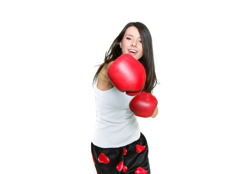 young female boxer over white photo