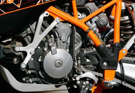 close up of motorbike engine