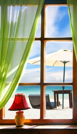 wooden window with sea view photo