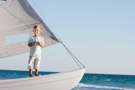 Young Boy onboard Sea yacht