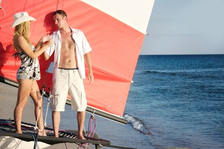young couple on board of sea yacht Stock Photo - 7791622