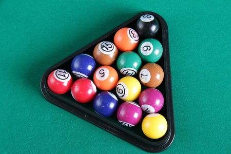 8 ball billiards: billiard balls on table