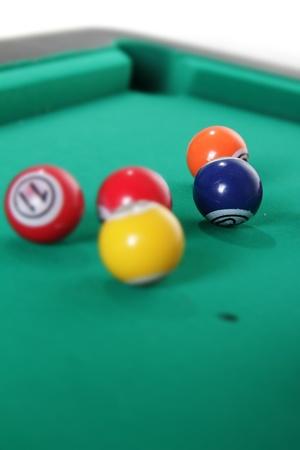 pool table: billiard balls on table