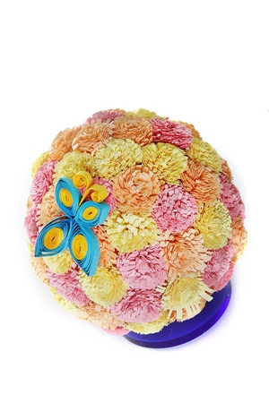 paper flower ball and butterfly, quilling photo