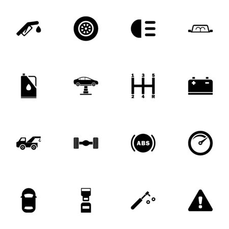 Car icon - Expand to any size - Change to any colour. Perfect Flat Vector Contains such Icons as tow truck, speedometer, abs, wheel, axle, oil can, gearbox, lift, battery, safety belt, fuel nozzle Illustration