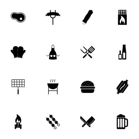 Barbecue icon - Expand to any size - Change to any colour. Perfect Flat Vector Contains such Icons as beer, bonfire, hot dog, grilled sausage, matches, apron, shashlik, kebab, burger, salt, pepper Illustration