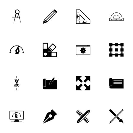 Blueprint icon - Expand to any size - Change to any colour. Perfect Flat Vector Contains such Icons as ruler, pencil, paintbrush pen, cut off, expand, architectural design, paint, color checker, point