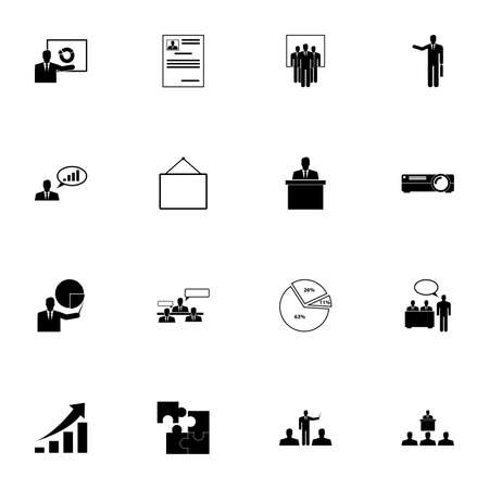 Business Presentation icon - Expand to any size - Change to any colour. Perfect Flat Vector Contains such Icons as profit graph, growth, pie chart, projector, businessman, speaker, portfolio, puzzle Stock Illustratie