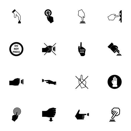 Buttons icon - Expand to any size - Change to any colour. Perfect Flat Vector Contains such Icons as push, pressure, press button, click, hand, finger, prohibited, stop, bell, toggle switch, caution