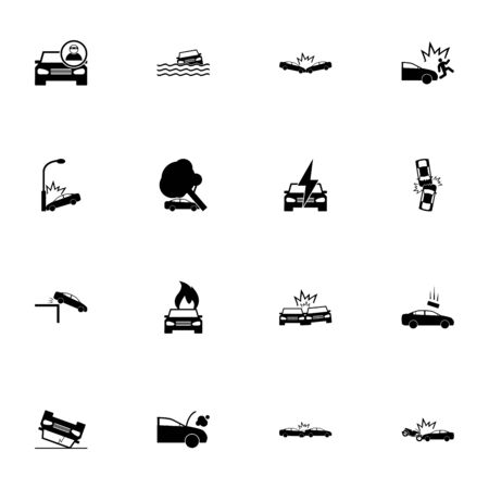Car Crashes icon - Expand to any size - Change to any colour. Perfect Flat Vector Contains such Icons as accident, wreck, flood, casualty, pedestrian, cliff, fallen tree, lightning strike, arson, fire
