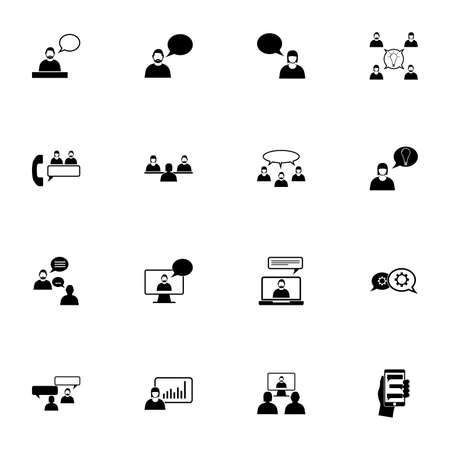 Business Communication icon - Expand to any size - Change to any colour. Perfect Flat Vector Contains such Icons as dialogue, discussion, dispute, chat, speech bubble, webinar, team, idea, video call