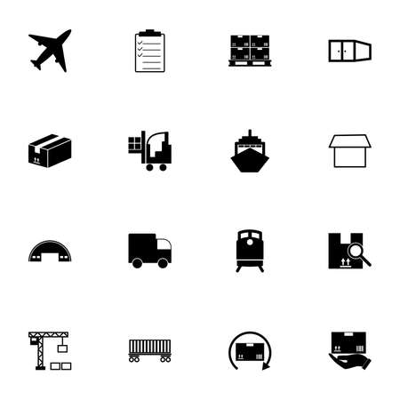 Cargo icon - Expand to any size - Change to any colour. Perfect Flat Vector Contains such Icons as vessel, truck, train, box, freight, check list, loader, crane, railway carriage, aircraft, delivery