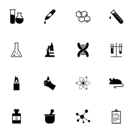 Chemical icon - Expand to any size - Change to any colour. Perfect Flat Vector Contains such Icons as microscope, dna, experimental mouse, experiment research, poison flask, test tube, pipette, mortar