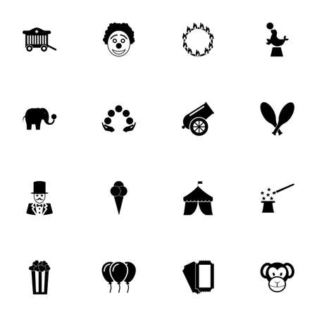 Circus icon - Expand to any size - Change to any colour. Perfect Flat Vector Contains such Icons as clown, cannon, monkey, elephant, fur seal, magician, juggling, pop korn box, ice cream, ticket, tent Illustration