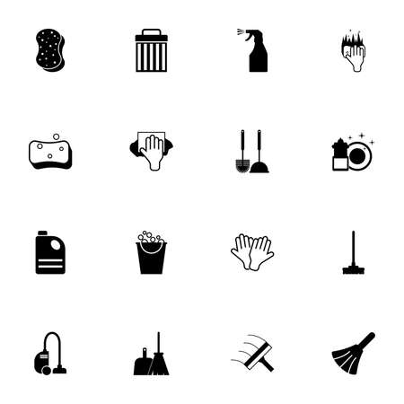 Cleaning icon - Expand to any size - Change to any colour. Perfect Flat Vector Contains such Icons as washcloth, bucket, vacuum cleaner, trash bin, glove, dishes, detergent, mop, sprayer, broom, scoop