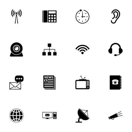Communication icon - Expand to any size - Change to any colour. Perfect Flat Vector Contains such Icons as satellite antenna, headset, television, loudspeaker, webcam, ear, computer, news, phonebook Ilustracje wektorowe