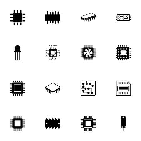 Computer Chips icon - Expand to any size - Change to any colour. Perfect Flat Vector Contains such Icons as CPU, GPU, processor, silicon chip, microchip, microcircuit, resistor, transistor, conductor