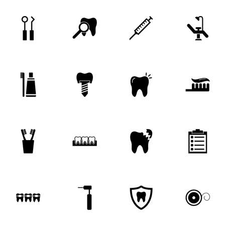 Dental icon - Expand to any size - Change to any colour. Perfect Flat Vector Contains such Icons as tooth implant, caries, braces, medical record, pain reliever, dentist chair, toothpaste, toothbrush