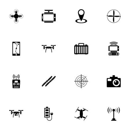 Drone icon - Expand to any size - Change to any colour. Perfect Flat Vector Contains such Icons as helicopter propeller, quadrocopter, wireless controlled copter, remote controller, aerial photography
