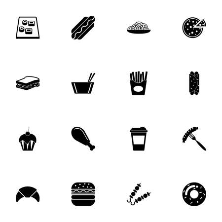 Fast Food icon - Expand to any size - Change to any colour. Perfect Flat Vector Contains such Icons as bread, fish, fruit, hot dog, beef, burger, chicken, barbecue, croissant, eating, pizza, sushi Vetores