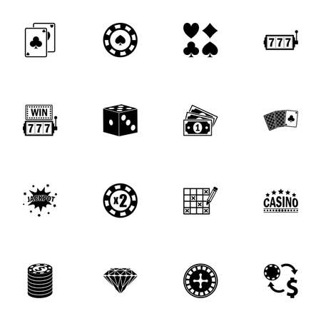 Gambling icon - Expand to any size - Change to any colour. Perfect Flat Vector Contains such Icons as casino, poker, chip, bet, slot, roulette, dice, money, vegas, spade, jackpot, games, nightlife 矢量图像