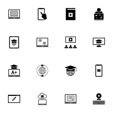 Online Education icon - Expand to any size - Change to any colour. Perfect Flat Vector Contains such Icons as diploma, webcam, student graduation hat, book, notebook, keyboard, lecture, smartphone