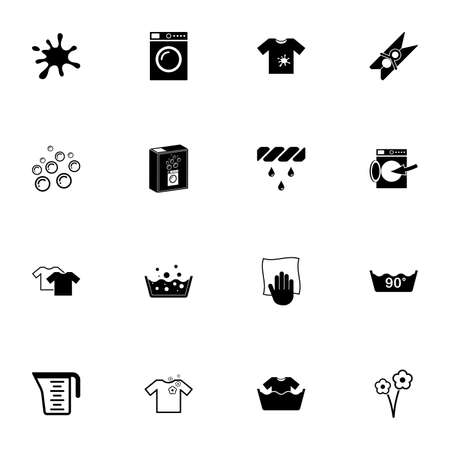 Laundry icon - Expand to any size - Change to any colour. Perfect Flat Vector Contains such Icons as clothespin, washing machine, soap powder, washer, clean t-shirt, bubbles, detergent, twist clothes