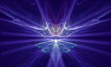 Mysterious alien form magnetic fields in the blue sky. Fractal art graphics.
