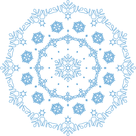 blizzards: Lace in the form of slight and simple snowflakes.Frosty white ball covered with a pattern of frost in the form of blizzards.  vector illustration.
