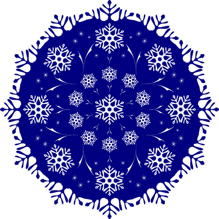 blizzards: The tracery of snowflakes in the circle. Frosty blue ball covered with a pattern of frost in the form of blizzards.  vector illustration. Illustration