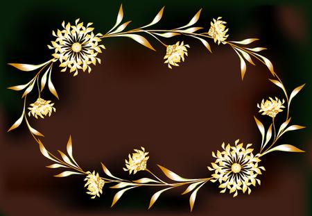 elipse: Marco con flores en la forma de una elipse. ilustraci�n vectorial.