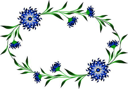 cornflowers: Frame with cornflowers in the shape of a circle.  vector illustration.