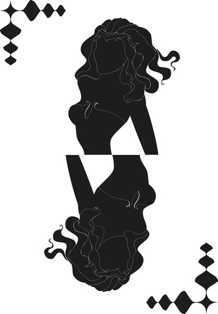 Silhouette of girl in a form of card. vector illustration