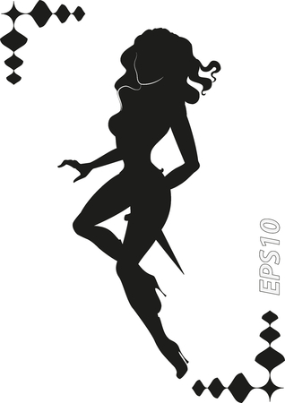 Vector silhouette of martial Amazons. vector illustration.
