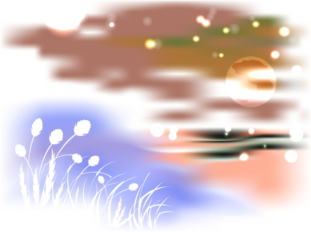 bulrush: Bright night landscape with lake and reeds in the light of the moon.  vector illustration