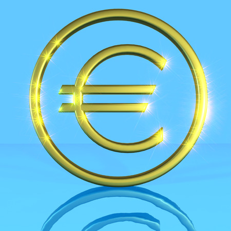 blue metallic background: Golden shiny metallic euro symbol on a blue background with water reflection framed. 3D generated image rendering