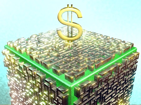 Silver maze with gold dollar sign on a grassy color cube. Fractal art graphics. photo