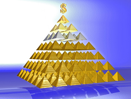 deceptive: Alluring deceptive pyramid topped by a golden dollar. Symbols
