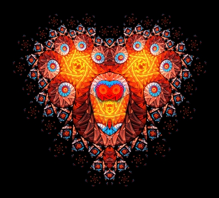 red love heart with flames: Symbolic diamond heart-shaped red heart that symbolizes love. Fractal art graphics.